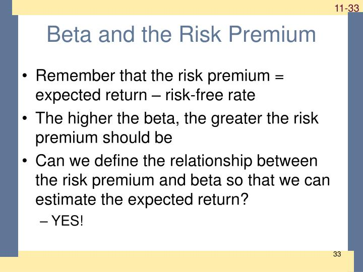 Beta and the Risk Premium