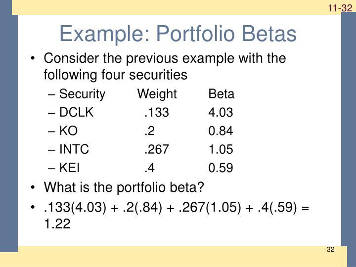 Example: Portfolio Betas