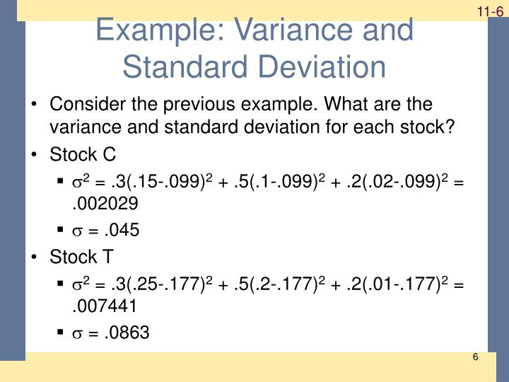 Example: Variance and Standard Deviation