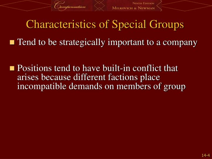 Characteristics of Special Groups