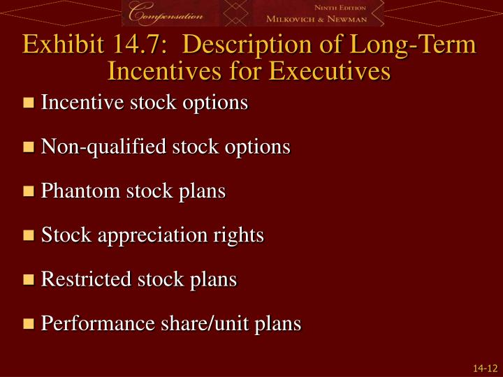 Exhibit 14.7:  Description of Long-Term Incentives for Executives