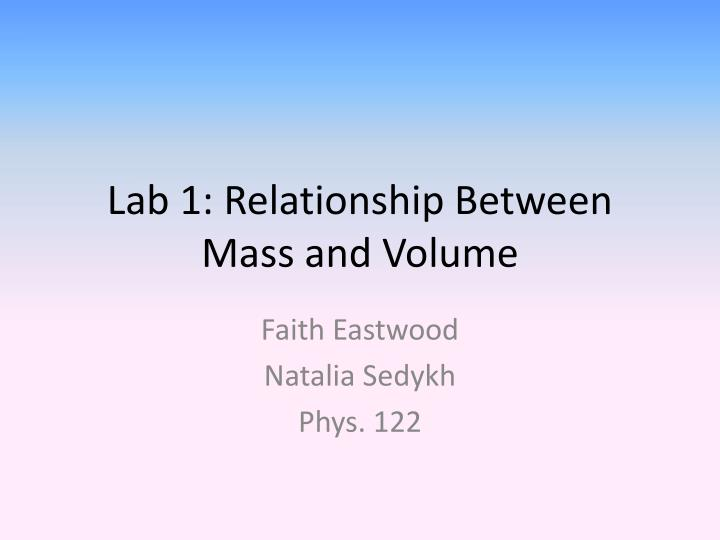 mass and volume relationship lab