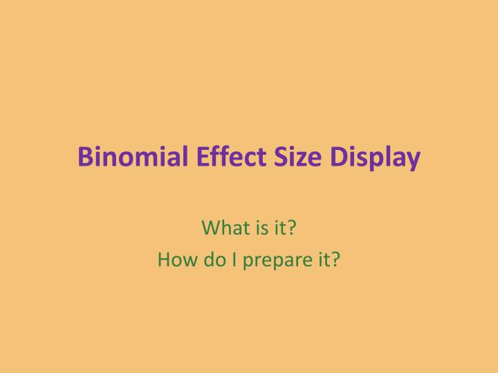 Binomial effect size display