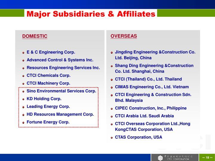 Major Subsidiaries & Affiliates