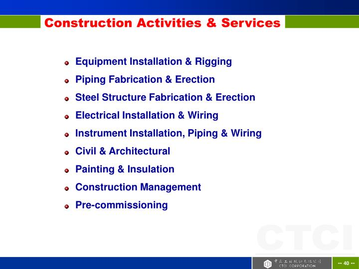 Equipment Installation & Rigging