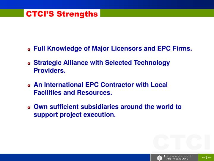CTCI'S Strengths