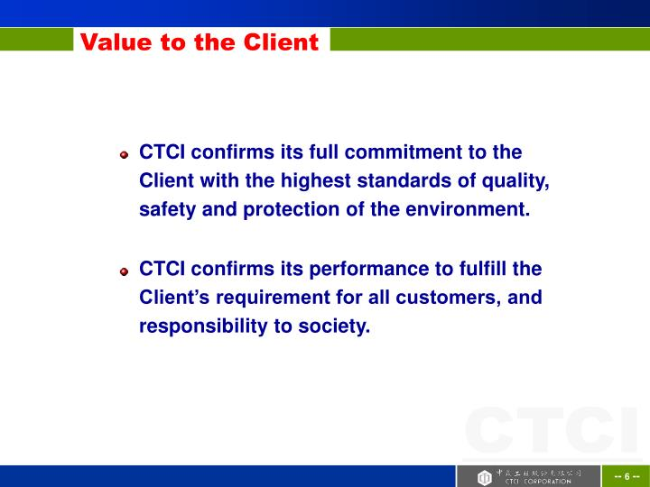 Value to the Client