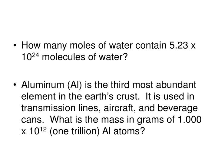 How many moles of water contain 5.23 x 10