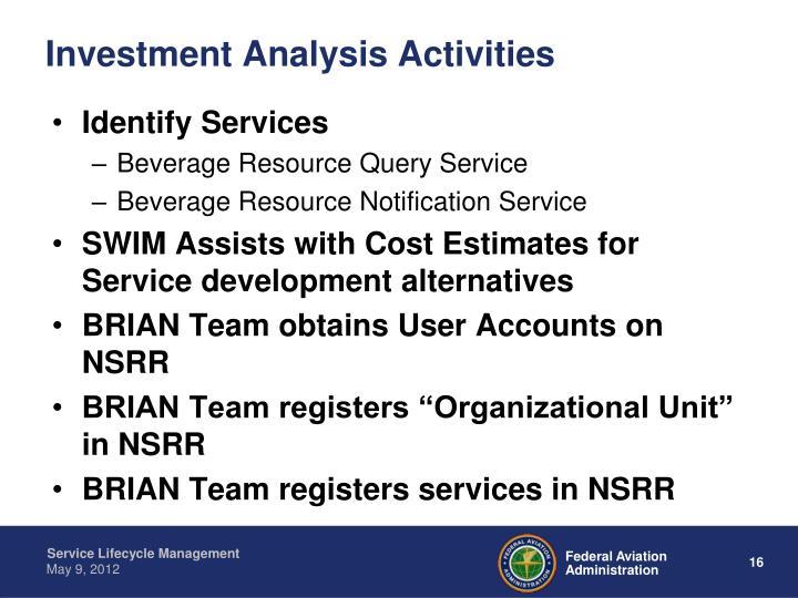 Investment Analysis Activities