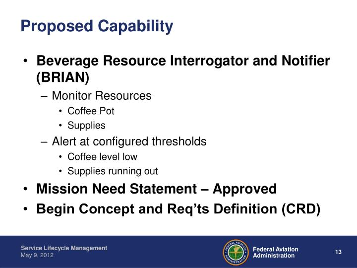 Proposed Capability