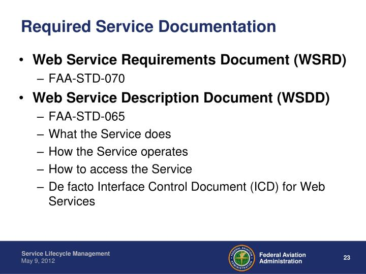 Required Service Documentation