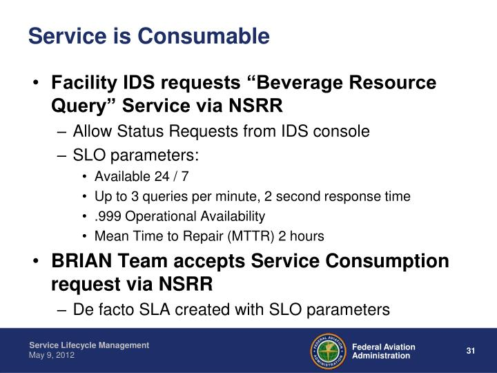 Service is Consumable