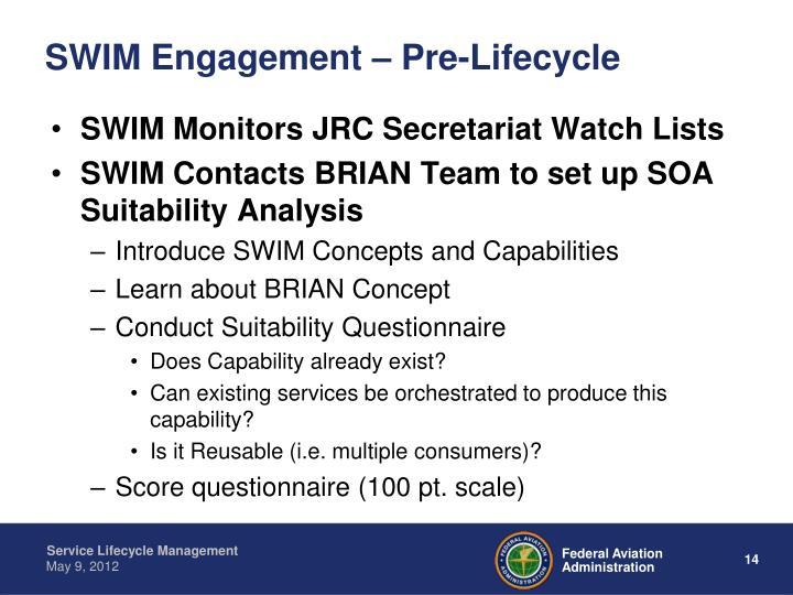 SWIM Engagement – Pre-Lifecycle