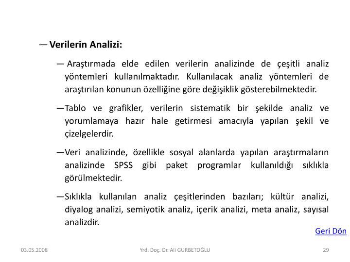 Verilerin Analizi: