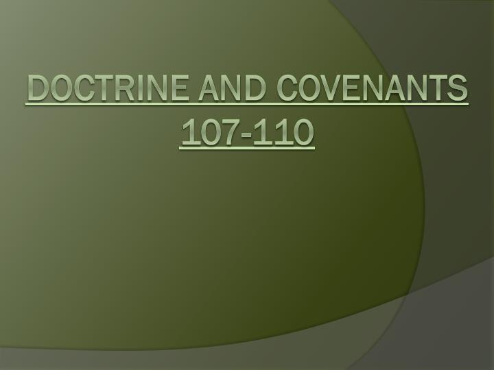 Doctrine and covenants 107 110