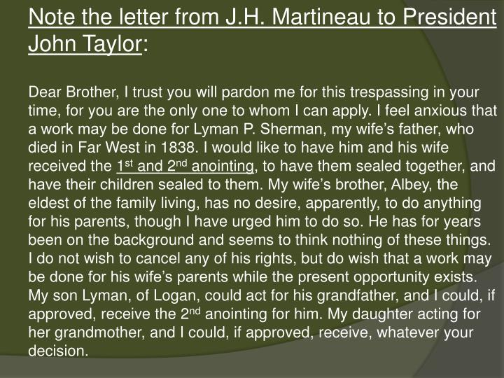 Note the letter from J.H. Martineau to President John Taylor