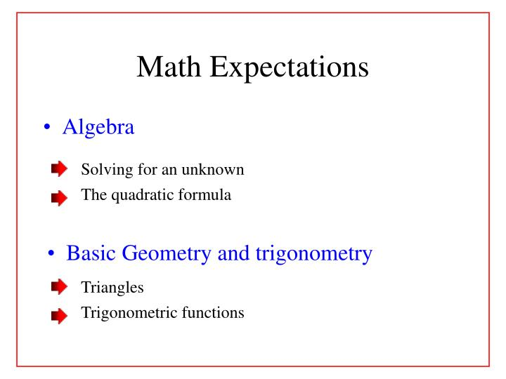 Math Expectations