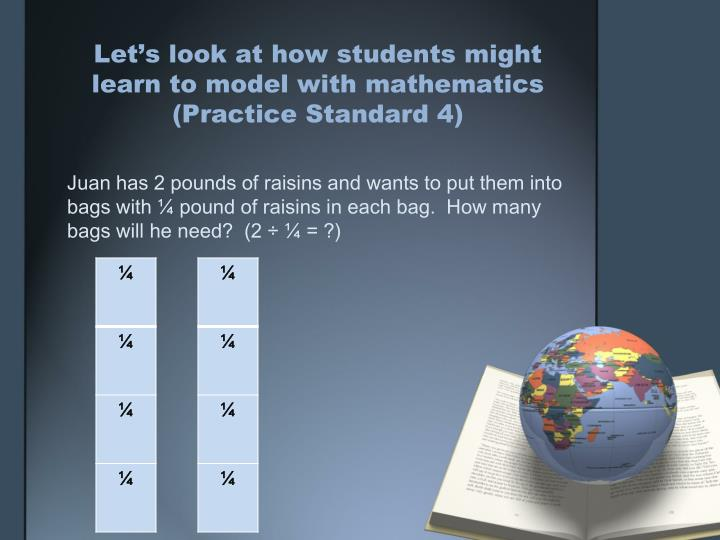 Let's look at how students might learn to model with mathematics (Practice Standard 4)