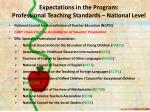 expectations in the program professional teaching standards national level