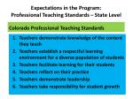 expectations in the program professional teaching standards state level