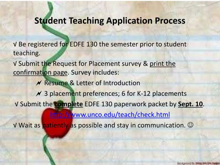 Student Teaching Application Process