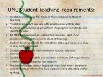 unc student teaching requirements