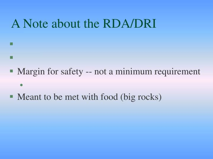 A Note about the RDA/DRI