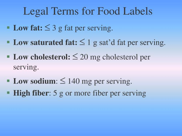 Legal Terms for Food Labels