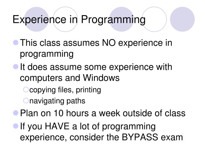 Experience in Programming