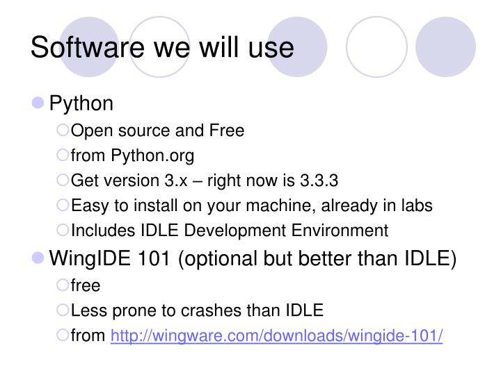 Software we will use