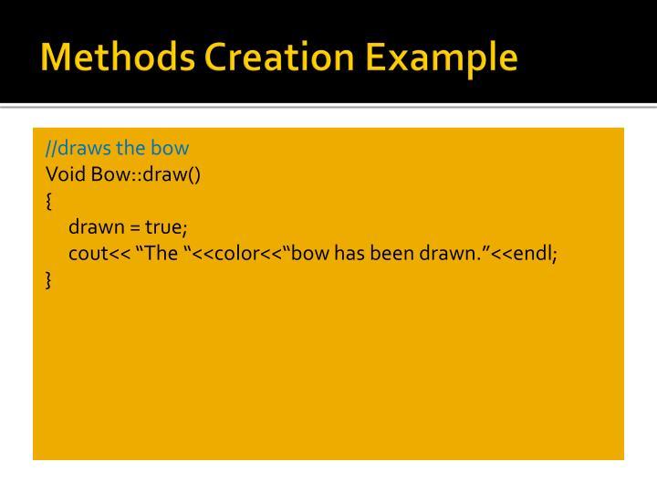 Methods Creation Example