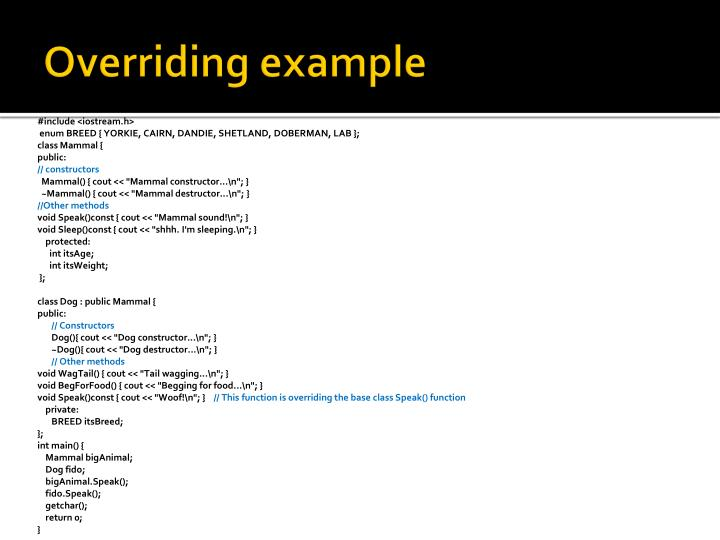 Overriding example