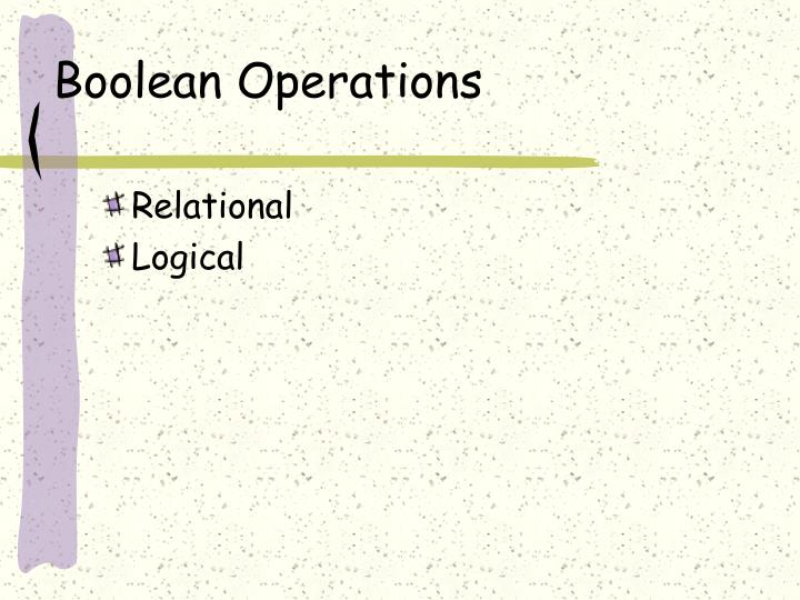 Boolean Operations