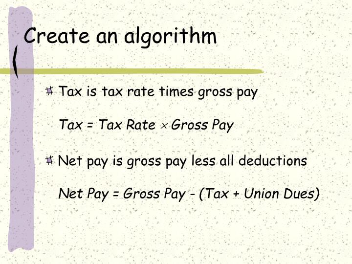 Create an algorithm