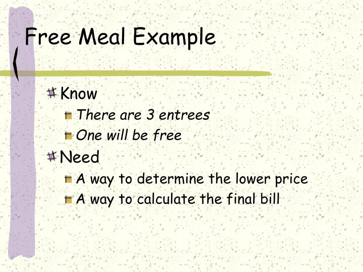 Free Meal Example