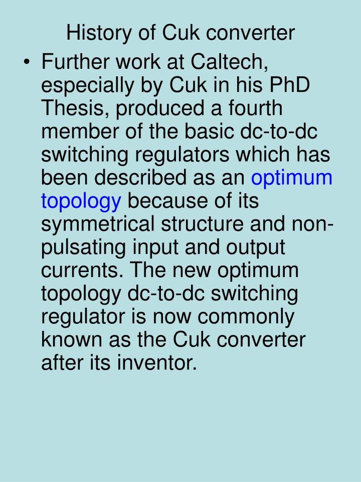 History of Cuk converter