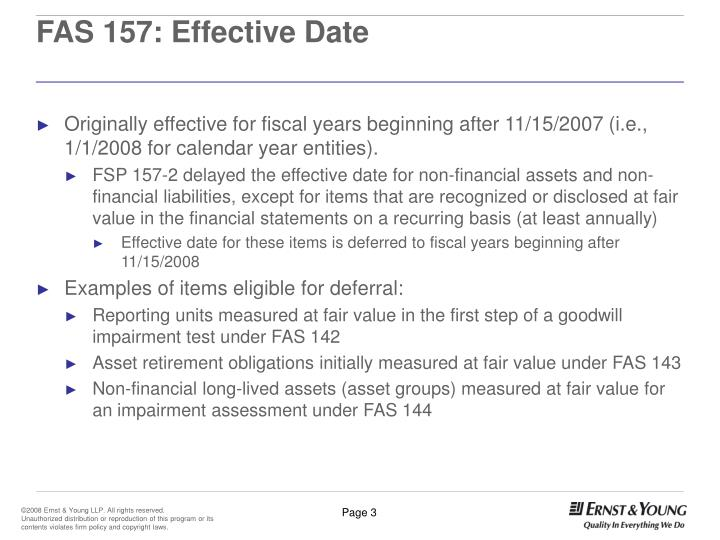 FAS 157: Effective Date