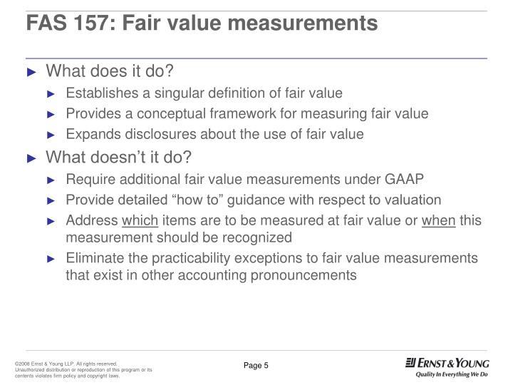 FAS 157: Fair value measurements