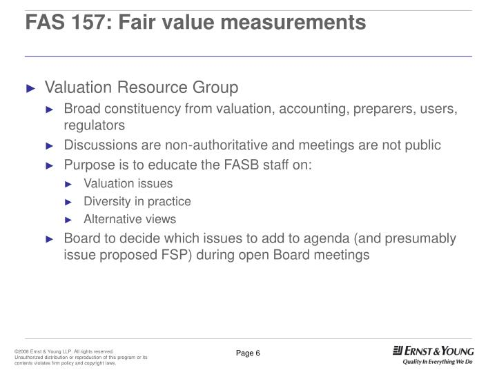 FAS 157: Fair value measurements