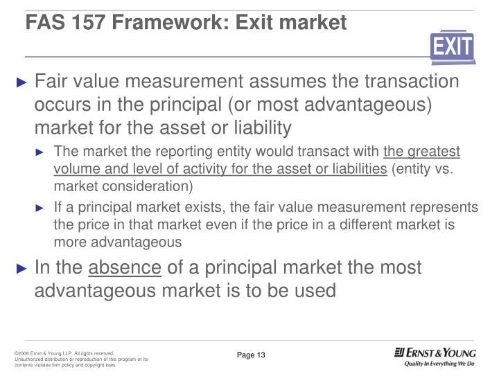 FAS 157 Framework: Exit market