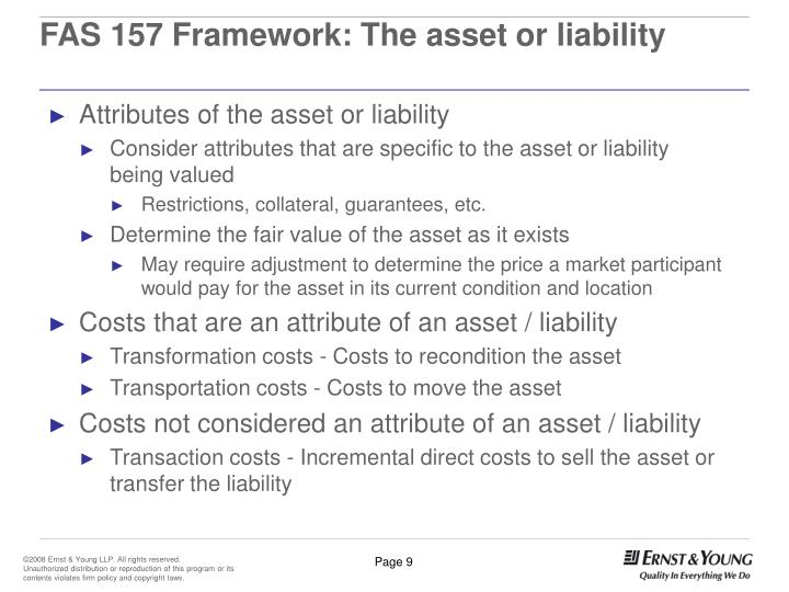 FAS 157 Framework: The asset or liability