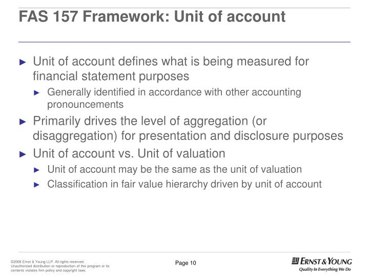 FAS 157 Framework: Unit of account