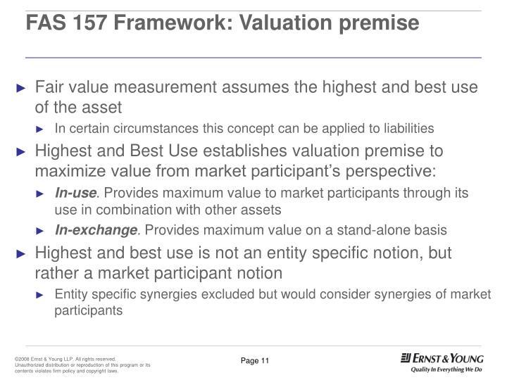 FAS 157 Framework: Valuation premise