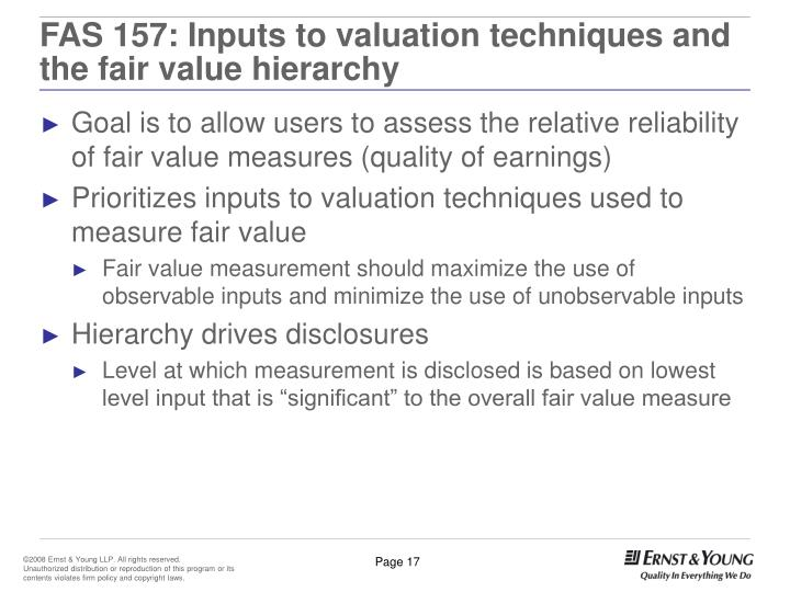FAS 157: Inputs to valuation techniques and the fair value hierarchy