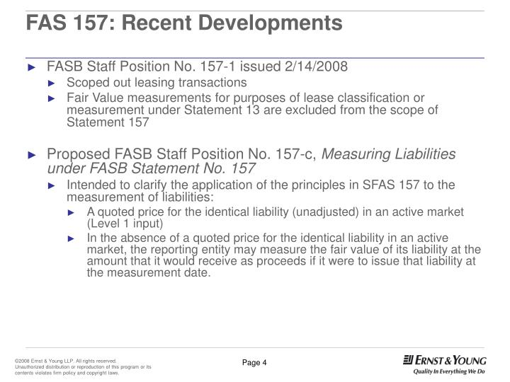 FAS 157: Recent Developments