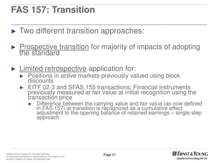 FAS 157: Transition