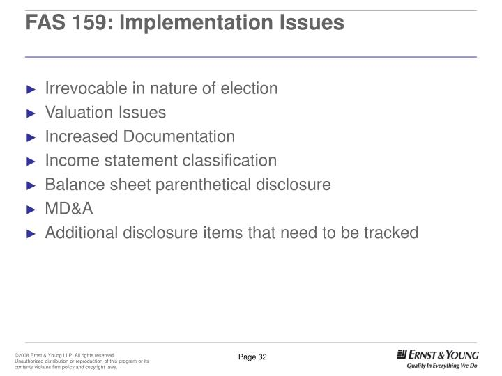 FAS 159: Implementation Issues