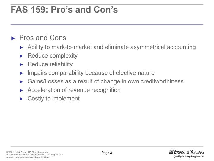 FAS 159: Pro's and Con's