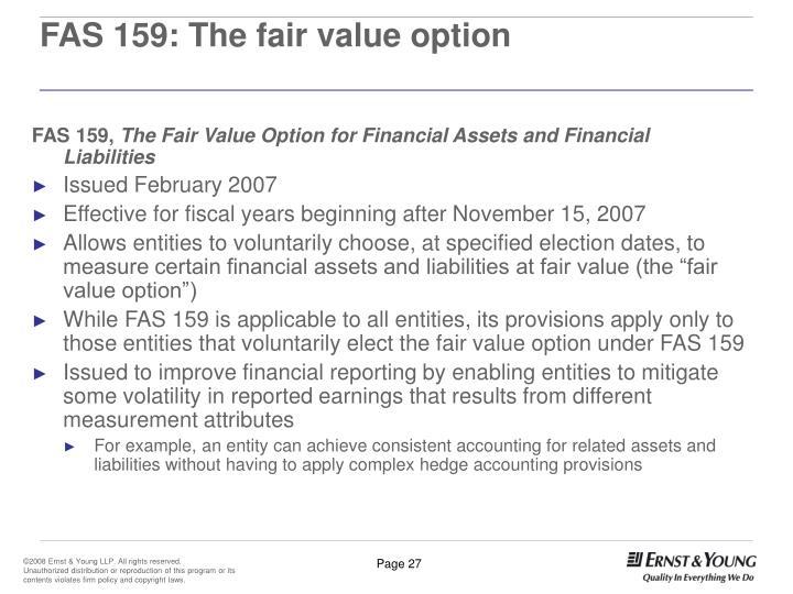 FAS 159: The fair value option