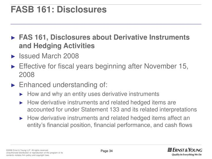 FASB 161: Disclosures